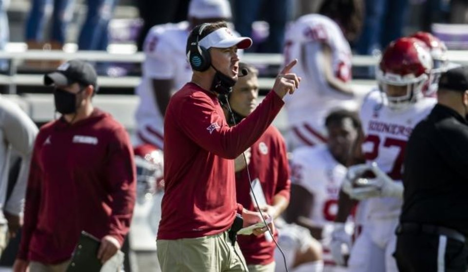Photo -  OU coach Lincoln Riley says of TCU's late timeouts in the Sooners' 33-14 win Saturday: