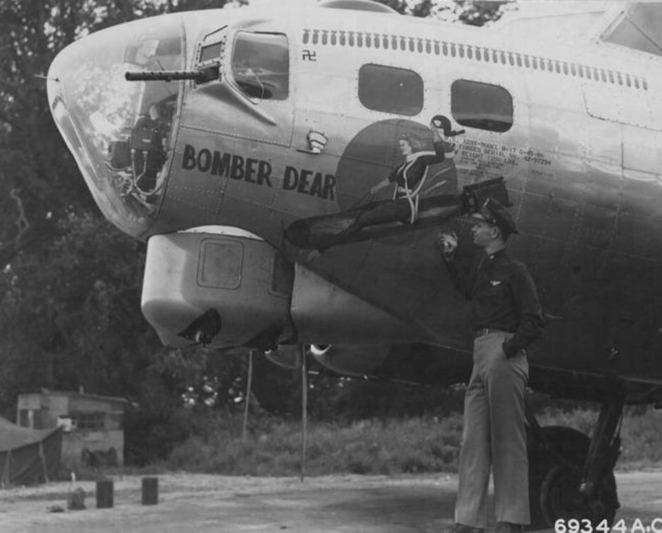 Photo -  The Bomber Dear, the plane Allen Chander was on serving as a radio operator when it was shot down over Germany in November 1944 near Barby, Germany. [Photo provided by 91stbombgroup.com]