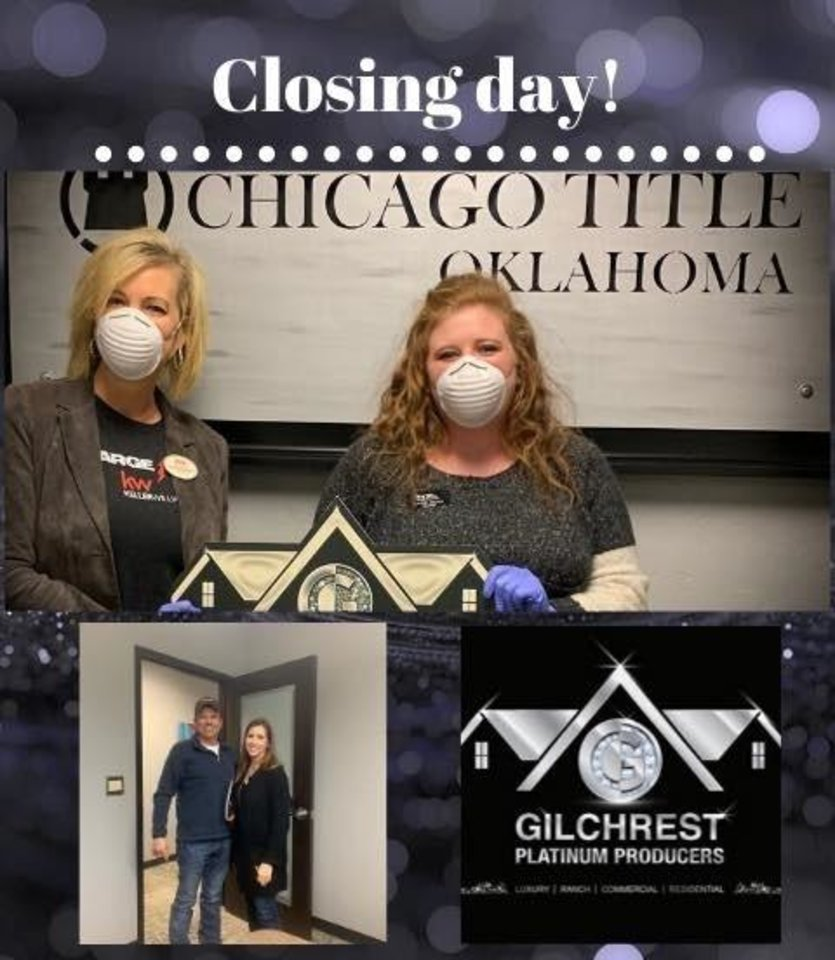 Photo -  Jennifer Gilchrest, left, an agent with Keller Williams Realty Green Meadow, 1624 SW 122, is seen in a promotion wearing a mask during the closing of a home sale. [PHOTO PROVIDED]
