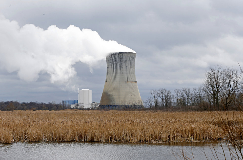 Photo -  FILE – This April 4, 2017, file photo shows the entrance to FirstEnergy Corp.'s Davis-Besse Nuclear Power Station in Oak Harbor, Ohio. A nuclear plant bailout law should be repealed immediately, Democratic members of the Ohio House announced Wednesday, July 22, 2020, as a bribery scandal involving one of the state's most powerful lawmakers unfolded over the law's passage. (AP Photo/Ron Schwane, File)