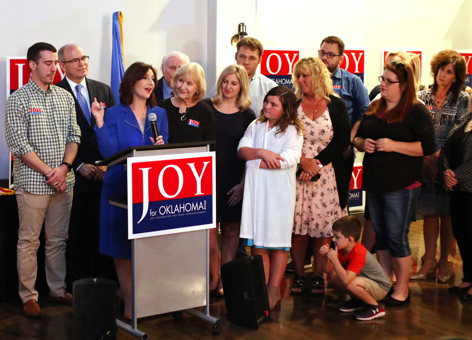 Photo -  State schools Superintendent Joy Hofmeister speaks to supporters at a watch party in Oklahoma City on Tuesday after winning the Republican runoff election. [Photo by Doug Hoke, The Oklahoman]