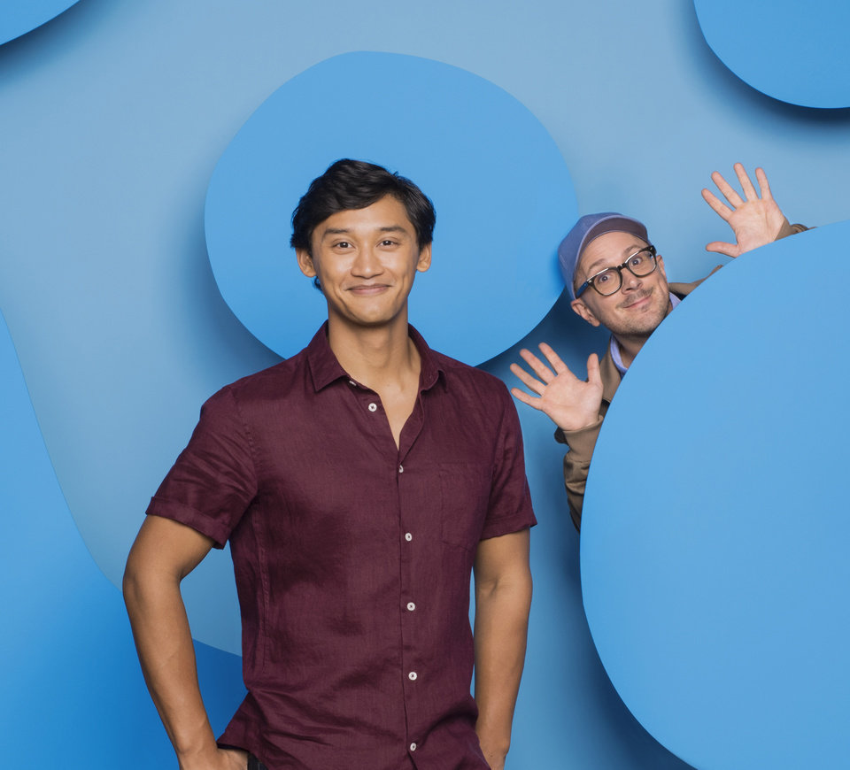 Photo - Pictured: The new host of Blue's Clues, Joshua Dela Cruz, along with the original host, Steve Burns, on Nickelodeon. Photo: Gavin Bond/Nickelodeon. (C)2018 Viacom, International, Inc.  All Rights Reserved.