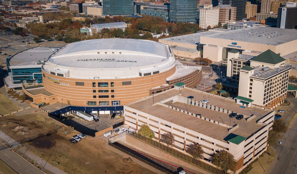 Photo -  This drone image of downtown Oklahoma City shows Chesapeake Energy Arena on the left. [Dave Morris/The Oklahoman]