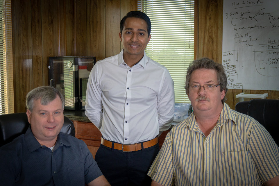 Photo -  XploSafe founders, from left, Nick Materer, chief scientific officer; Shoaib Shaikh, financial operations manager; and Allen Apblett, president. [PHOTO PROVIDED BY OCAST]
