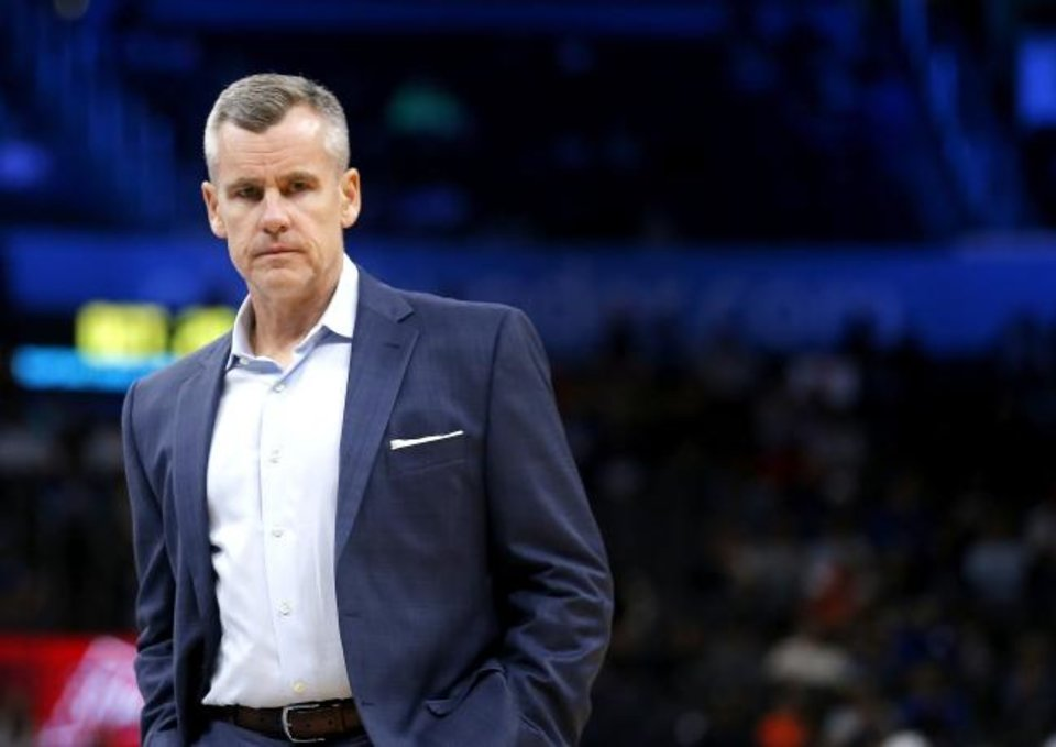 Photo -  In five seasons as Thunder head coach, Billy Donovan has a 243-157 record in the regular season. [Sarah Phipps/The Oklahoman]