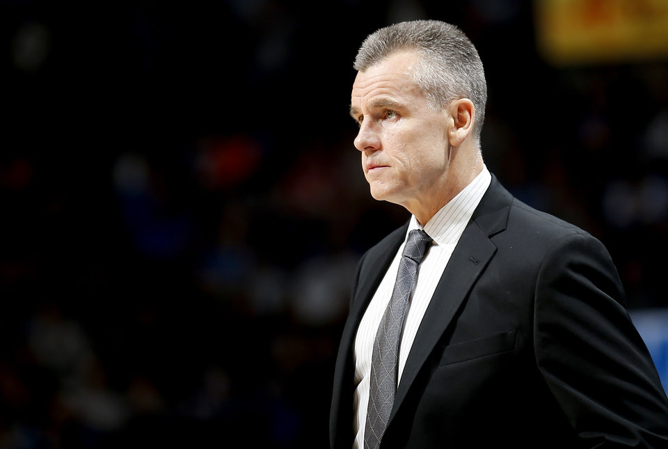 Photo - Oklahoma City head coach Billy Donovan watches game action during the NBA game between the Oklahoma City Thunder and the Utah Jazz at the Chesapeake Energy Arena, Friday, Feb. 22, 2019. Photo by Sarah Phipps, The Oklahoman