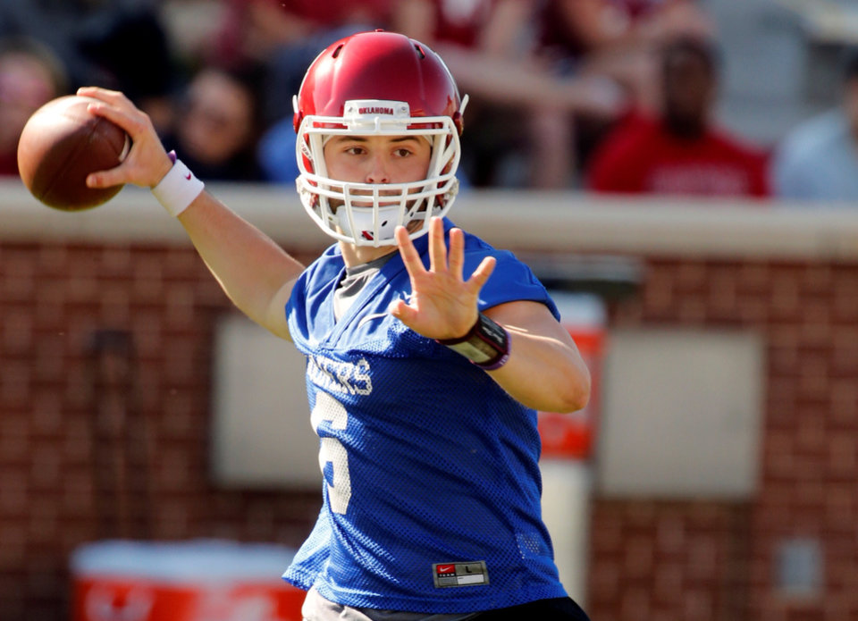 Photo -  OU quarterback Baker Mayfield was once a walk-on with seemingly little chance to play. Now, he's locked in a battle for the starting spot heading into the 2015 season. Photo by Steve Sisney, The Oklahoman archives