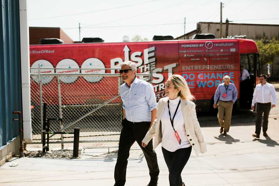 Photo -  Revolution CEO Steve Case, shown in Louisville, Ky., during the Rise of the Rest road trip in 2018, will travel through Oklahoma and other Midwest cities in April. [PHOTO PROVIDED]