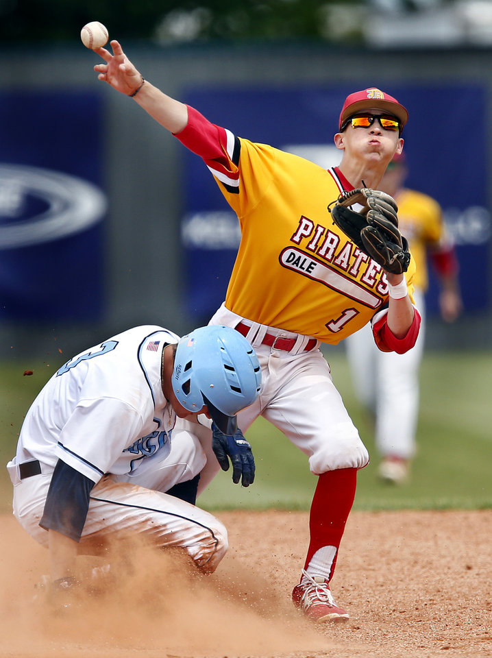 Photo - After touching the bag to get Oktaha runner Brock Rodden out at second, Dale second baseman Ike Shirey throws to first base for a double play in the sixth inning of the Class 2A baseball state semifinal game at Shawnee High School on Friday, May 10, 2019.  Dale defeated Oktaha, 6-0.   [Jim Beckel/The Oklahoman]