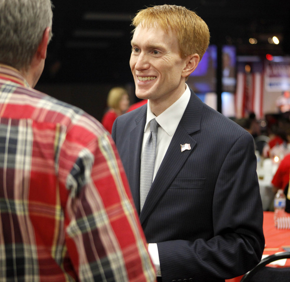 Photo - James Lankford talks to supporters during his watch party for the Republican primary elections of the 5th Congressional District seat in Oklahoma City, Tuesday, July 27, 2010.  Photo by Bryan Terry, The Oklahoman