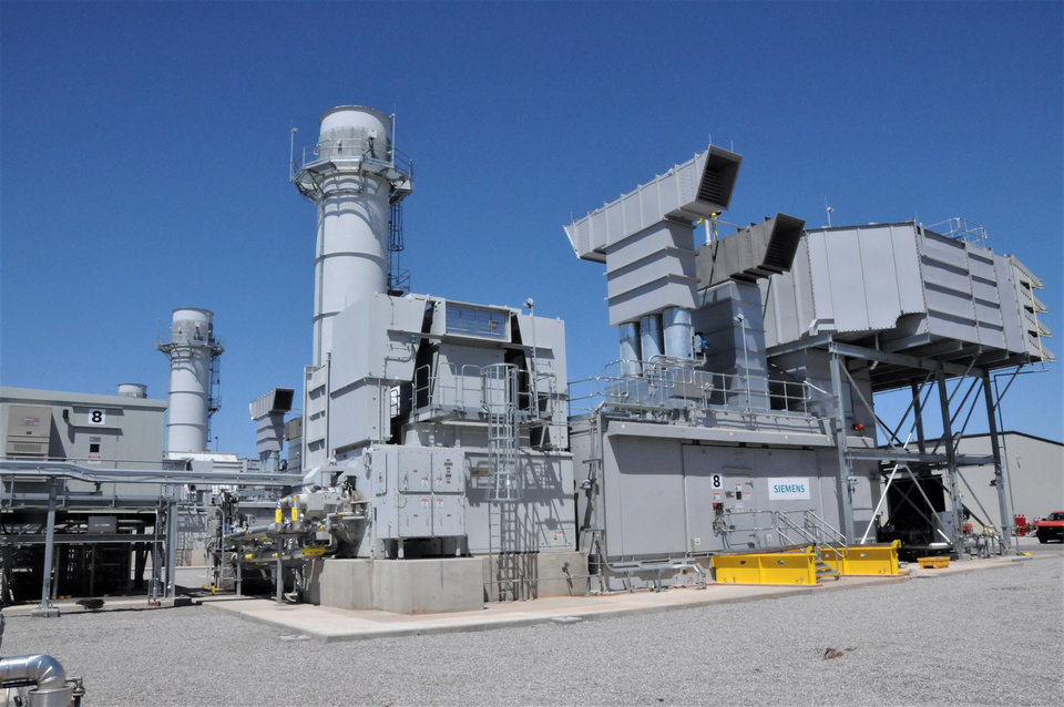 Photo -  Power producers across the nation continue to add natural gas generation to their fleets, the U.S. Energy Information Administration reports. Locally, Oklahoma Gas and Electric recently spent about $400 million to upgrade its Mustang power plant in Oklahoma City to include 462-megawatts of new generating capacity supplied by seven natural gas-fired turbines. [The Oklahoman Archives]