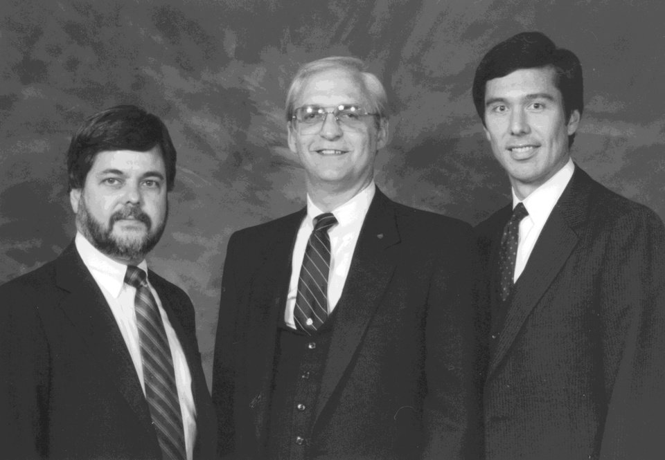 Photo - The original founders James Gray, Robert A. Funk, and William B. Stoller. Photo provided by Express Employment Professionals.