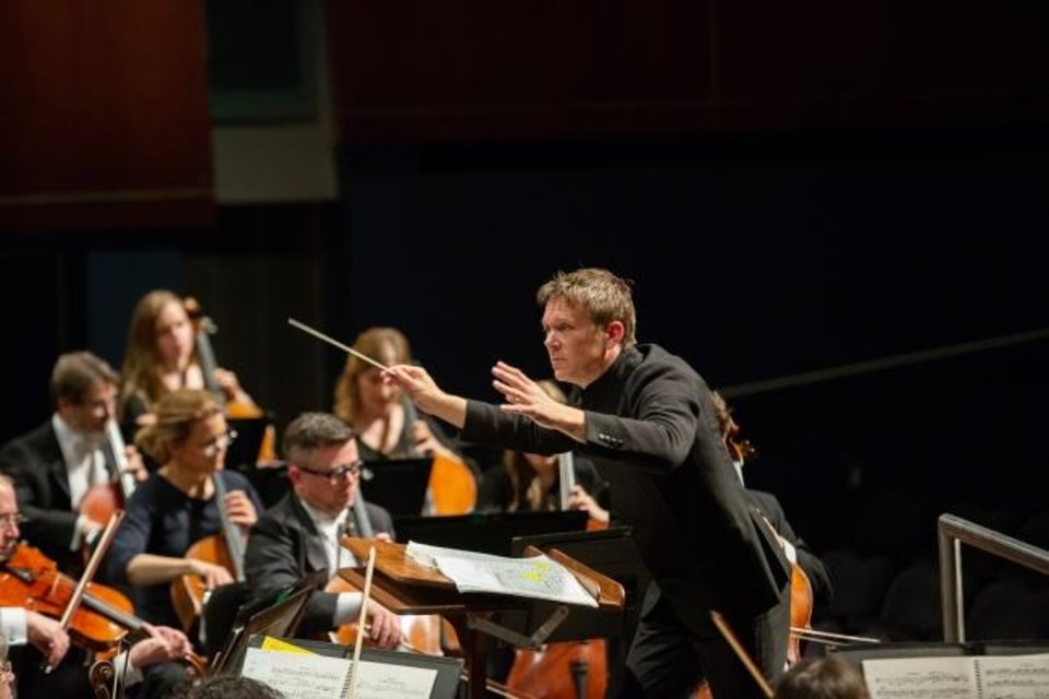 Photo -  Maestro Alexander Michelthwate conducts the Oklahoma City Philharmonic in concert. [Photo provided]