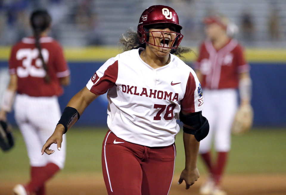 Photo - Oklahoma's Jocelyn Alo (78) celebrates  a home run in the 5th inning during a Women's College World Series between Oklahoma and Alabama at USA Softball Hall of Fame Stadium in Oklahoma City,  Sunday, June 2, 2019. Oklahoma won 7-3. [Sarah Phipps/The Oklahoman]
