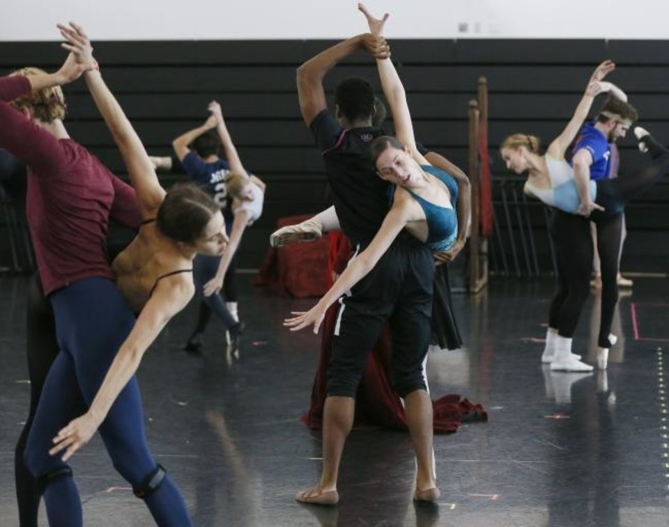 Photo -  Oklahoma City Ballet dancers rehearse on Oct. 4 for the company's 2019-2020 season opener, Michael Pink's