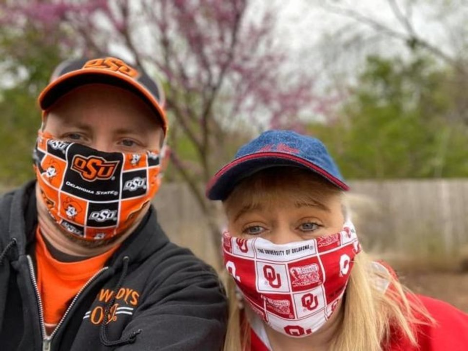 Photo -  Masked in your college colors. [Photo provided]