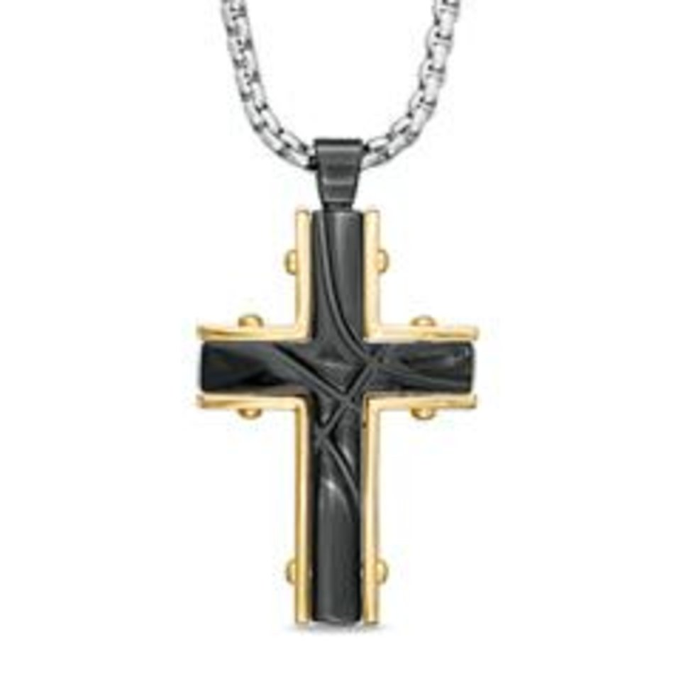 Photo - Shaquille O'Neal grooved cross pendant in two-tone stainless steel, available at Zales. (Zales)
