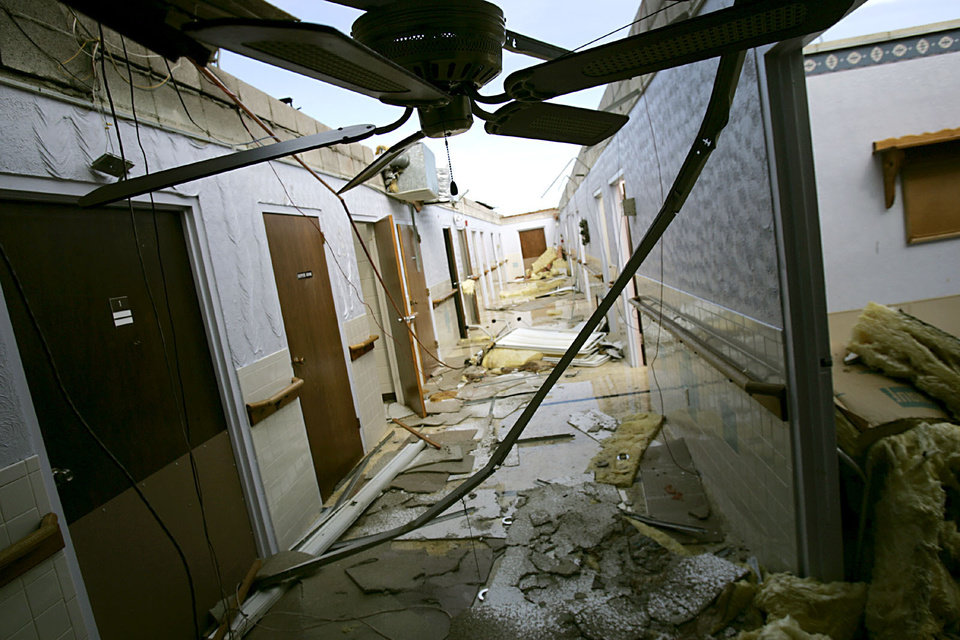 Photo - Damage at the nursing home in Geary on Sunday, August 19, 2007 following a storm that hit the area early Wednesday morning. By John Clanton, The Oklahoman