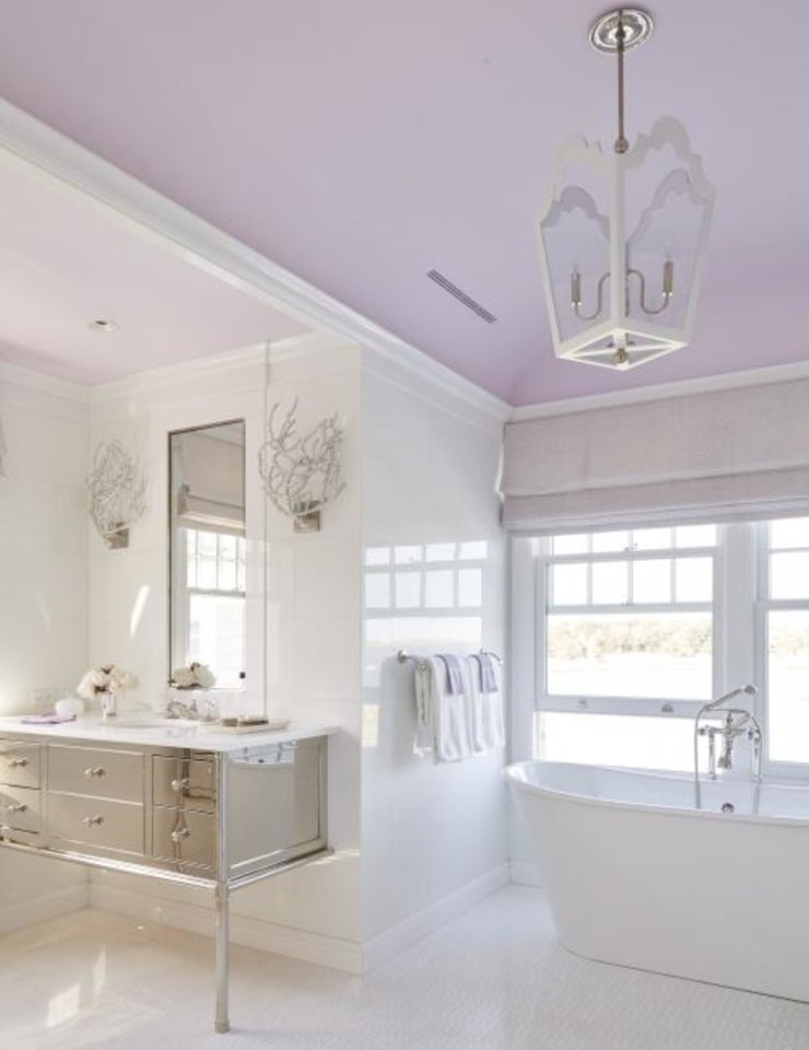 Photo -  The lavender ceiling stands out in this bathroom. [Max Kim-Bee]