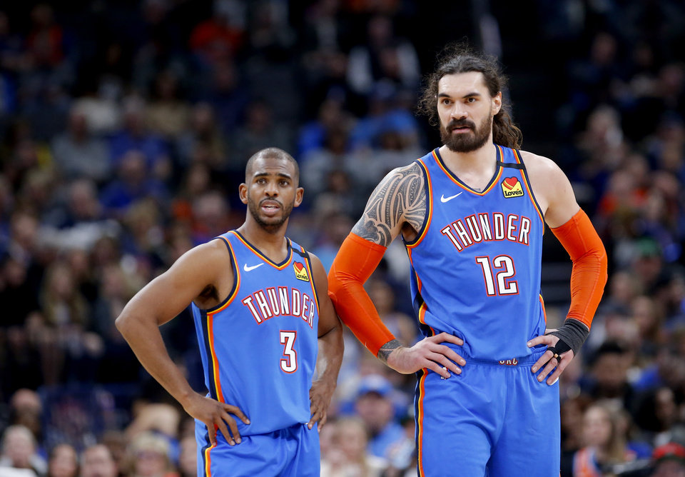 Photo - Oklahoma City's Chris Paul (3) and Steven Adams (12) talk during NBA basketball game between the Oklahoma City Thunder and the Detroit Pistons at the Chesapeake Energy Arena in Oklahoma City, Friday, Feb. 7, 2020.  [Sarah Phipps/The Oklahoman]