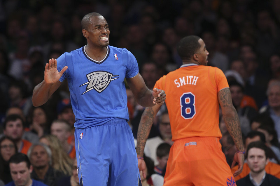 b9bd885e9 Oklahoma City Thunder power forward Serge Ibaka (9) reacts after drawing a  foul on New York Knicks shooting guard J.R. Smith (8) during the first half  of ...