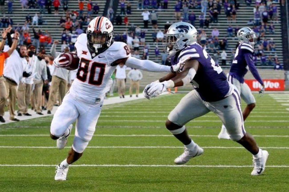 Photo -  Nov 7, 2020; Manhattan, Kansas, USA; Oklahoma State Cowboys wide receiver Brennan Presley (80) runs the ball past Kansas State Wildcats defensive end Khalid Duke (R) for a touchdown at Bill Snyder Family Football Stadium. Mandatory Credit: Scott Sewell-USA TODAY Sports