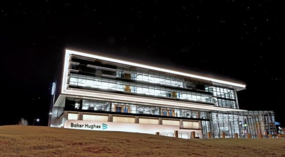Photo -  The Oklahoma City Energy Innovation Center is seen with an updated Baker Hughes logo on its exterior. [PROVIDED BY BAKER HUGHES]