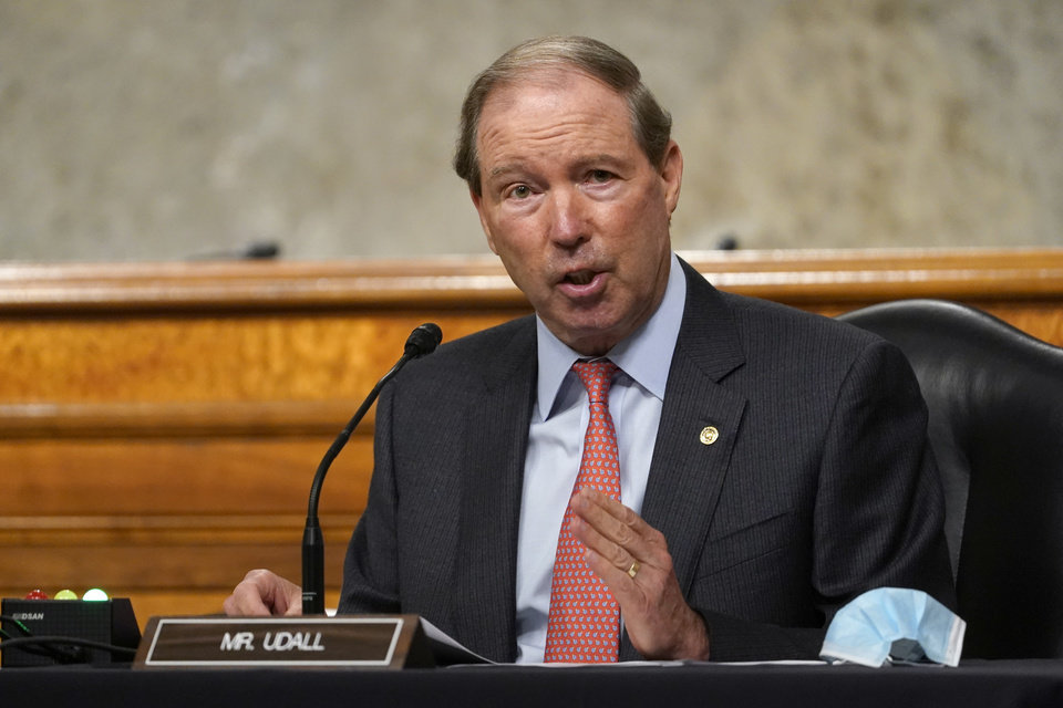 Photo -  FILE - In this Sept. 24, 2020 file photo, Sen. Tom Udall, D-N.M., speaks during a Senate Foreign Relations Committee hearing on Capitol Hill in Washington. (AP Photo/Susan Walsh, Pool, File)
