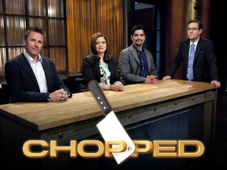 Photo -  Chopped--Episode 905--Four Champion Chefs Compete for a $50,000 prize--Pictured L to R: Judges- Chefs Marc Murphy,  Alex Guarnaschelii, Aaron Sanchez, and Host Ted Allen -- as Seen on Food Network's Chopped Season 9