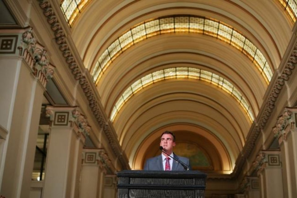 Photo -  Governor Kevin Stitt speaks at the Governor's Arts Awards at the Capitol, Tuesday, April 16, 2019. [Photo by Doug Hoke/The Oklahoman]