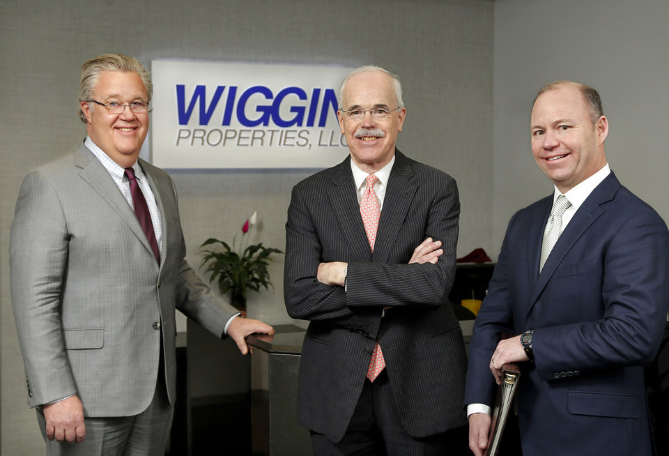 Photo -  From left, Paul Selid, executive vice president and partner; Chuck Wiggin, president and majority partner; and Grant Stewart, executive vice president and partner, are shown at the headquarters of Wiggin Properties LLC, Suite 120 of the Paragon Building, 5801 N Robinson Ave. [PHOTO BY JIM BECKEL, THE OKLAHOMAN]