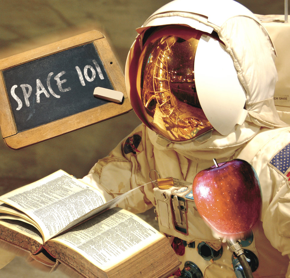 Photo - Space 101 SPACE CAMP / SPACE SUIT / TEACHER / TEXTBOOK / APPLE / GRAPHIC; ILLUSTRATION BY CHRIS SCHOELEN, THE OKLAHOMAN