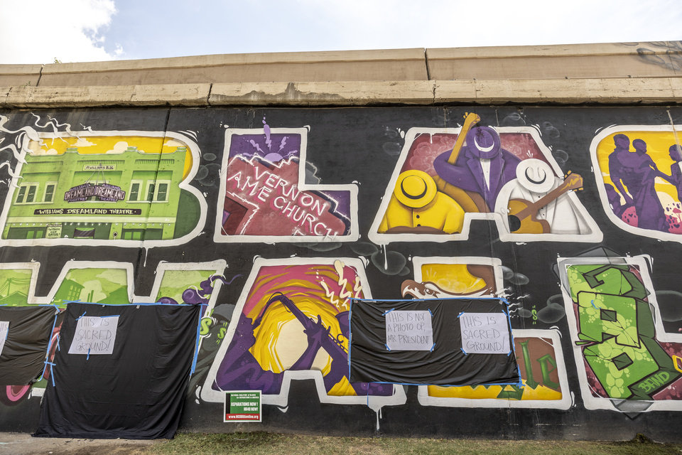 Photo - 6/20/20 3:35:56 PM -- Tulsa, OK, U.S.A  -- Murals and memorials were masked by residents before Vice President Mike Pence was rumored to visit the Historic Greenwood District in Tulsa, Okla. on Saturday, June 20, 2020 as President Donald Trump visits the city for his first campaign rally since the start of the coronavirus pandemic. --    Photo by Shane Bevel, Freelance