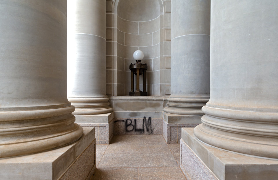 Photo - Graffiti at the Oklahoma state Capitol on Monday, June 1, 2020, in Oklahoma City, Okla. that was left behind after the George Floyd protest on Sunday.    [Chris Landsberger/The Oklahoman]