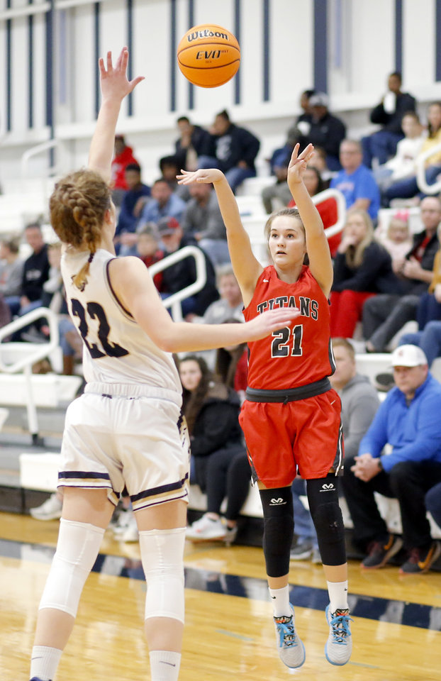 Photo - Carl Albert's Kamryn Sutton shoots as Heritage Hall's Lucille Sullivan defends during the high school girls game between Heritage Hall and  Carl Albert at Heritage Hall in Oklahoma City, Friday, Jan. 17, 2020.  [Sarah Phipps/The Oklahoman]