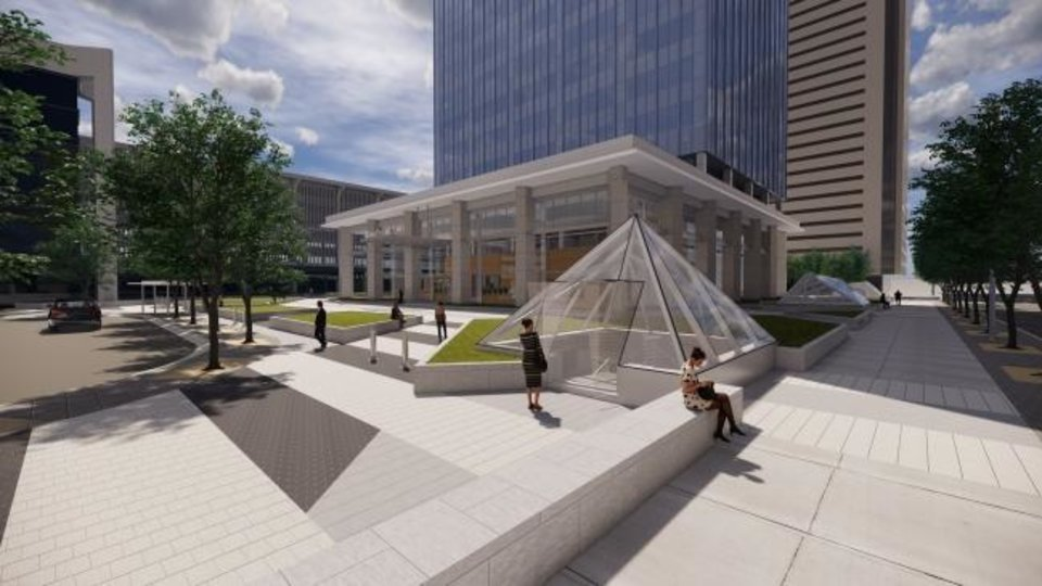 Photo -  Updated plans for the plaza outside BancFirst Tower show a glass pyramid entrance to The Underground pedestrian tunnels and the Hot Tamale Grill. [RENDERING BY BOCKUS-PAYNE ARCHITECTS]