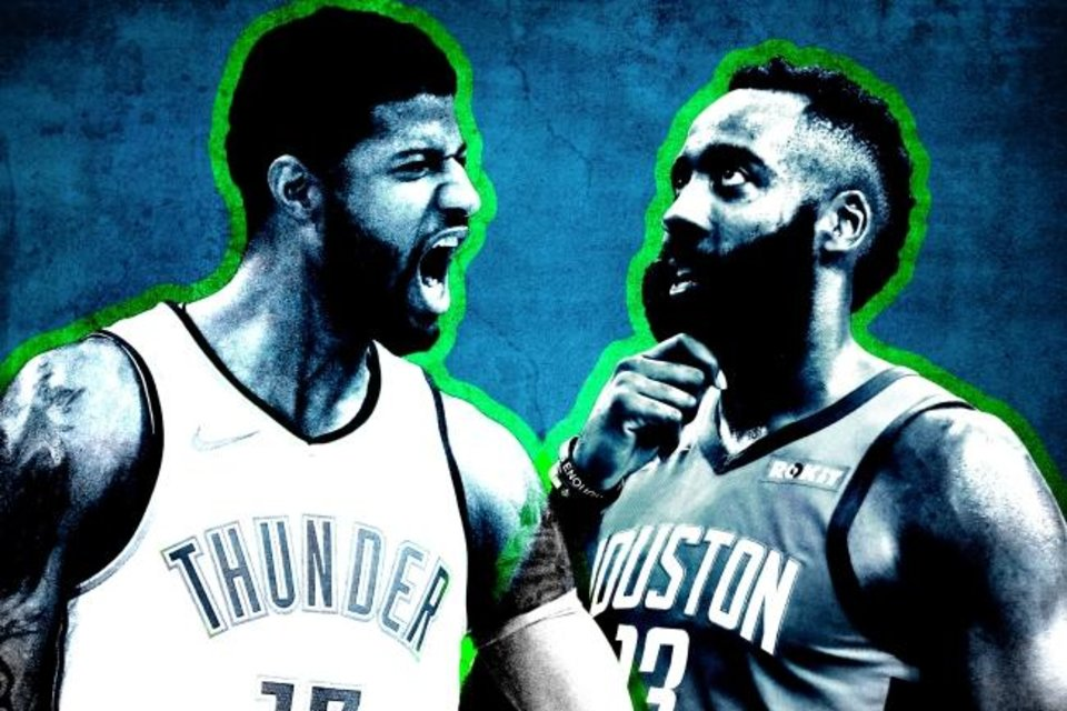 Photo -  Houston's James Harden (1,861) and Oklahoma City's Paul George (1,485) entered play Friday as the NBA's leaders in points scored and shots attempted, but they get their shots in different ways. [OKLAHOMAN PHOTO ILLUSTRATION]