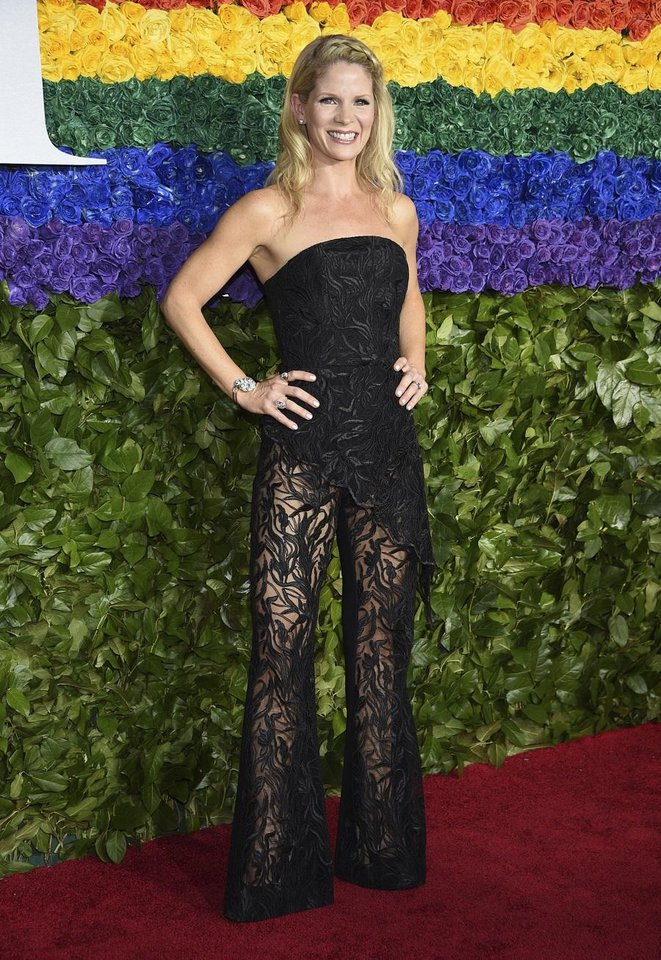 Photo - Kelli O'Hara arrives at the 73rd annual Tony Awards at Radio City Music Hall on Sunday, June 9, 2019, in New York. [Photo by Evan Agostini/Invision/AP]