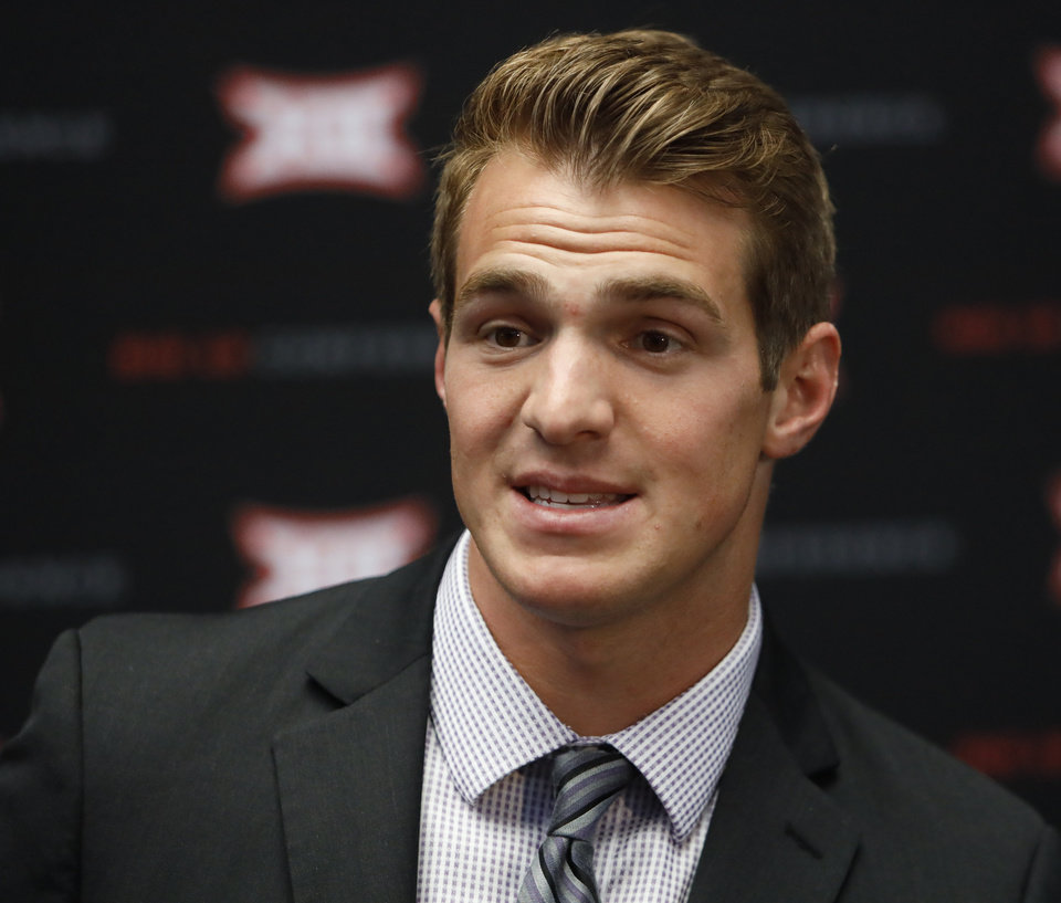 Photo - Kansas State wide receiver Dalton Schoen speaks during Big 12 Conference NCAA college football media day Tuesday, July 16, 2019, at AT&T Stadium in Arlington, Texas. (AP Photo/David Kent)