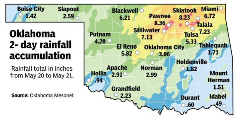 Photo -  Rain fall totals in inches from May 20 to May 21. Source: Oklahoma Mesonet [Todd Pendleton/The Oklahoman]