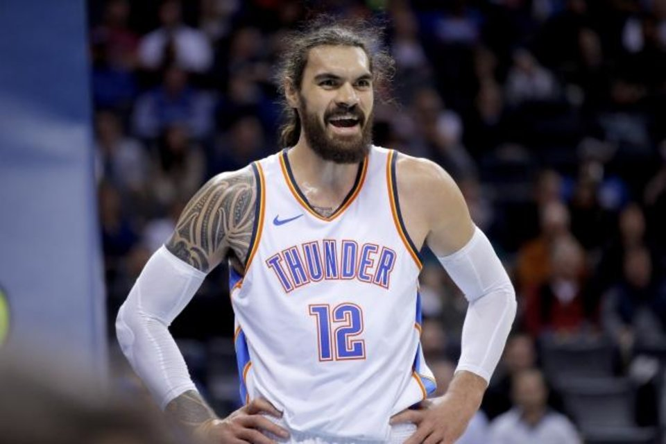 Photo -  Oklahoma City's Steven Adams leads NBA centers in loose balls recovered and is fourth in deflections at his position. [Sarah Phipps/The Oklahoman]