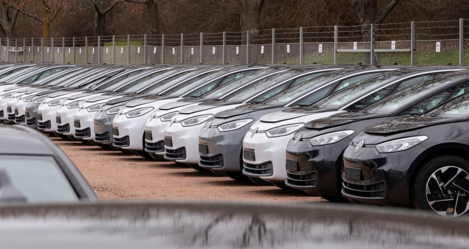 Photo -  Electric cars are parked Feb. 25 at the Volkswagen factory in Zwickau, Germany. Volkswagen tripled sales of battery-only cars last year as its new electric compact ID.3 came on the market ahead of tough new limits on auto emissions. [Jens Meyer/Associated Press file photo]