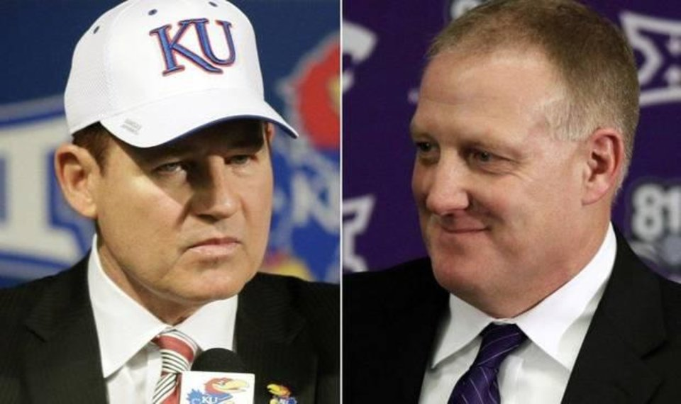 Photo - FILE - This combination of file photos shows new Kansas football coach Les Miles, left, at an NCAA college football news conference in Lawrence, Kan., Nov. 18, 2018, and  Chris Klieman introduced as the 35th Kansas State head football coach in Manhattan, Kan., Dec. 12, 2018. The two schools took vastly different approaches to hiring new head coaches. (AP Photo/Orlin Wagner, File)
