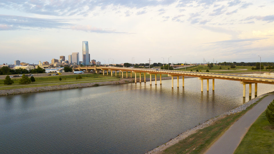 Photo -  The Oklahoma River trails at Western Avenue and along Wheeler Park is a barren stretch with the north shore exposed to nearby Interstate 40. The Oklahoma City Community Foundation is set to plant 1,000 trees, wildflowers and add stone benches to beautify the corridor. [Photo by Dave Morris, The Oklahoman]