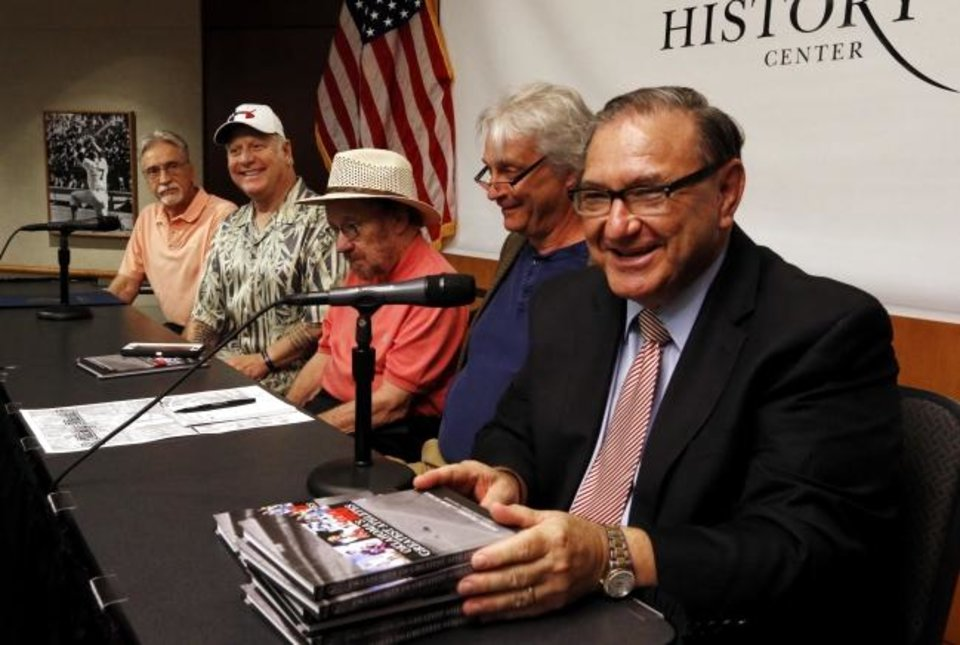 Photo -  Danny and David Mantle, sons of the legendary baseball player Mickey Mantle, Al Eschbach, Berry Tramel and Bob Burke appear on a panel to speak during Mickey Mantle Day at The History Center on July 7, 2016. [Steve Sisney/The Oklahoman archives]