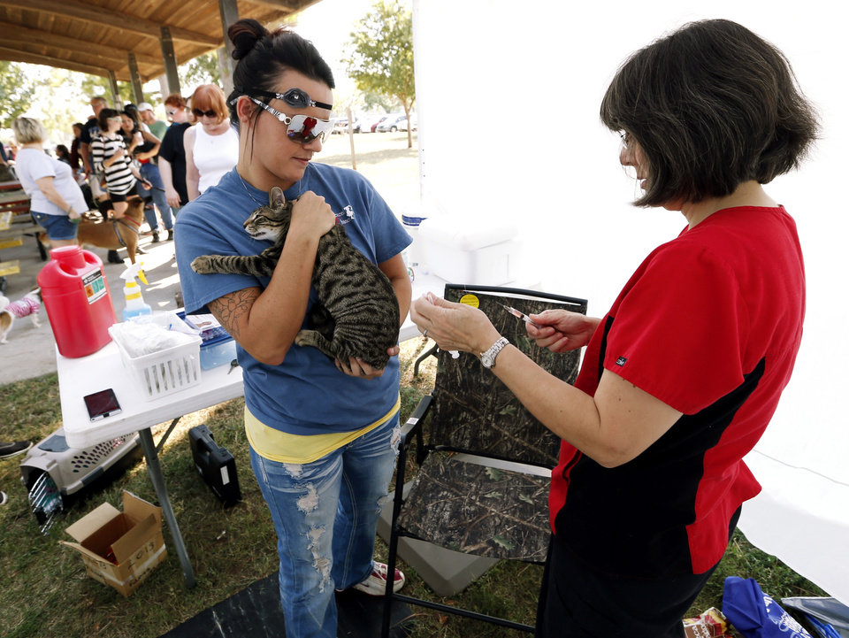 Photo -                                        Right:  Vet tech Dusty Ellison holds a cat as veterinarian Bonnie Boone administers a rabies shot during Dog Day Afternoon.