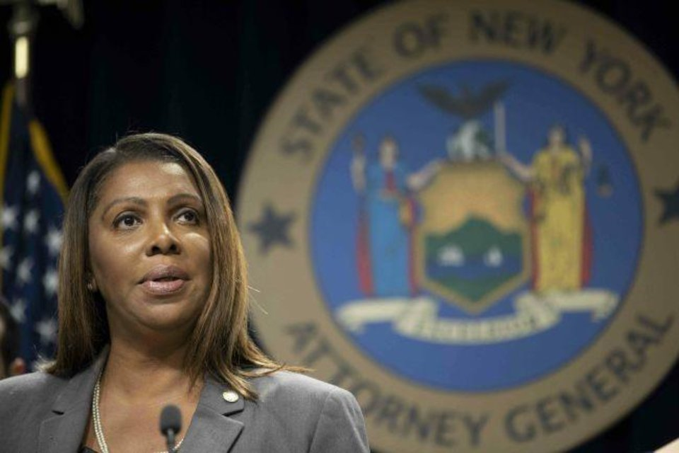 Photo -  New York Attorney General Letitia James speaks during a news conference in New York.  [AP PHOTO]