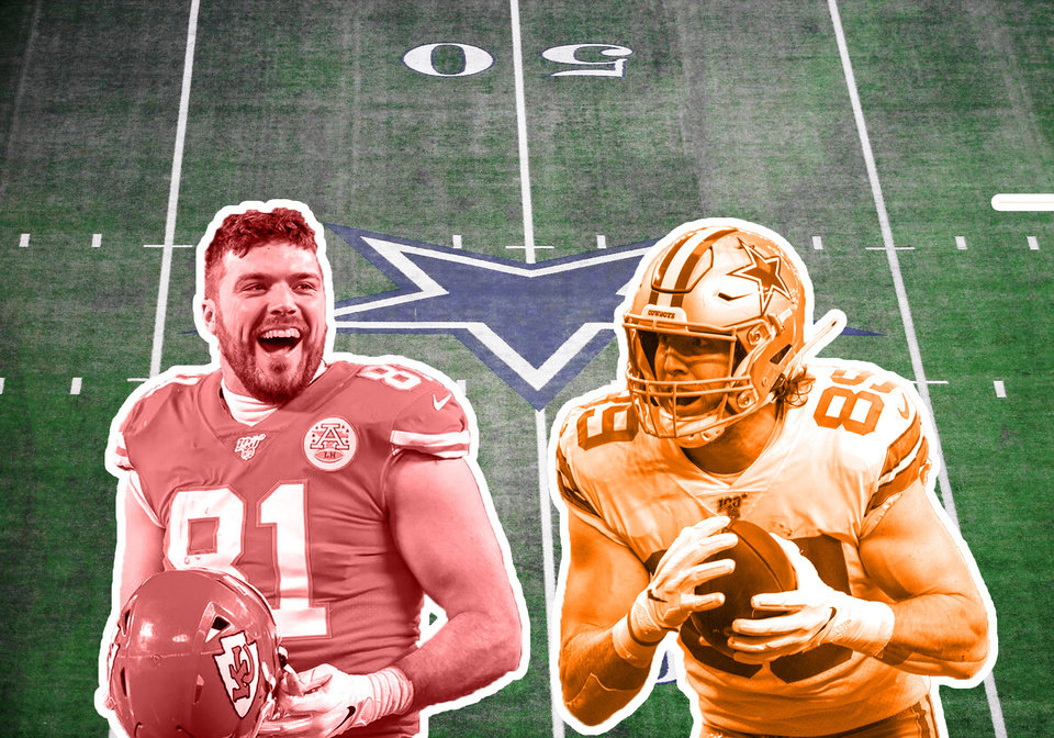 Photo - Former Bedlam rivals Blake Bell of OU and Blake Jarwin of OSU will join forces next season as tight ends for the Dallas Cowboys. [OKLAHOMAN PHOTO ILLUSTRATION]