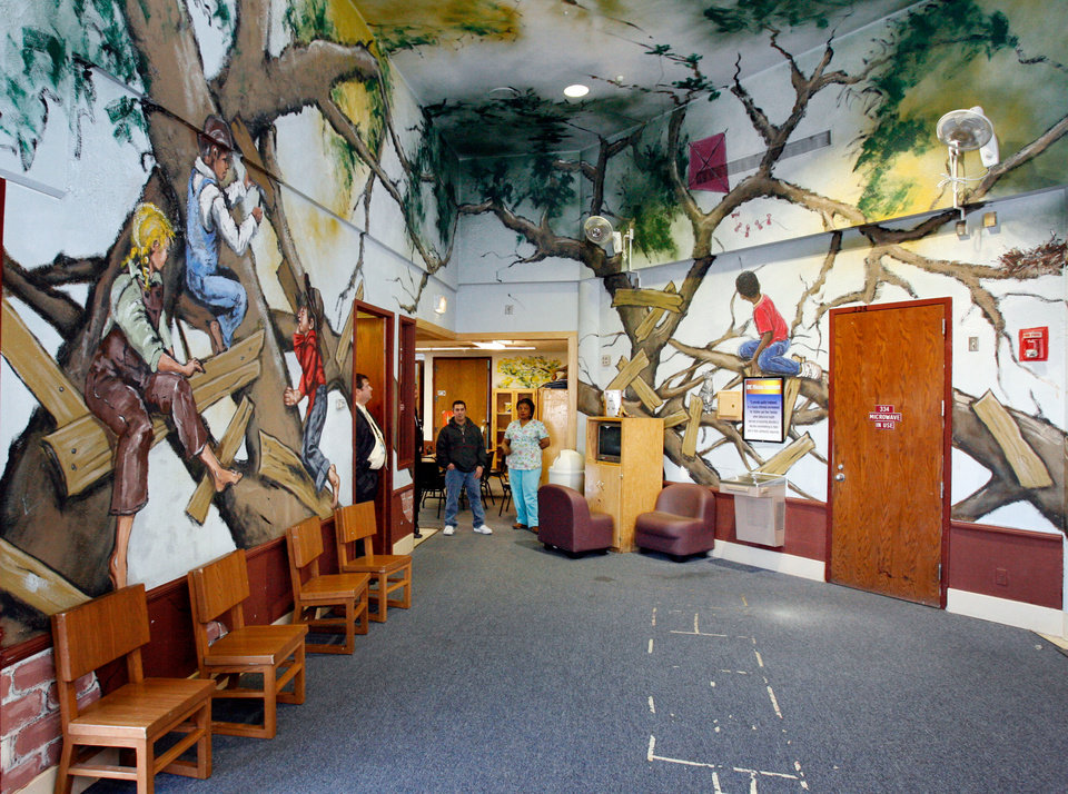 Murals And Posters Cover The Walls Of Living Area For 4 10 Year Olds At Children S Recovery Center Formerly Oklahoma Youth Norman