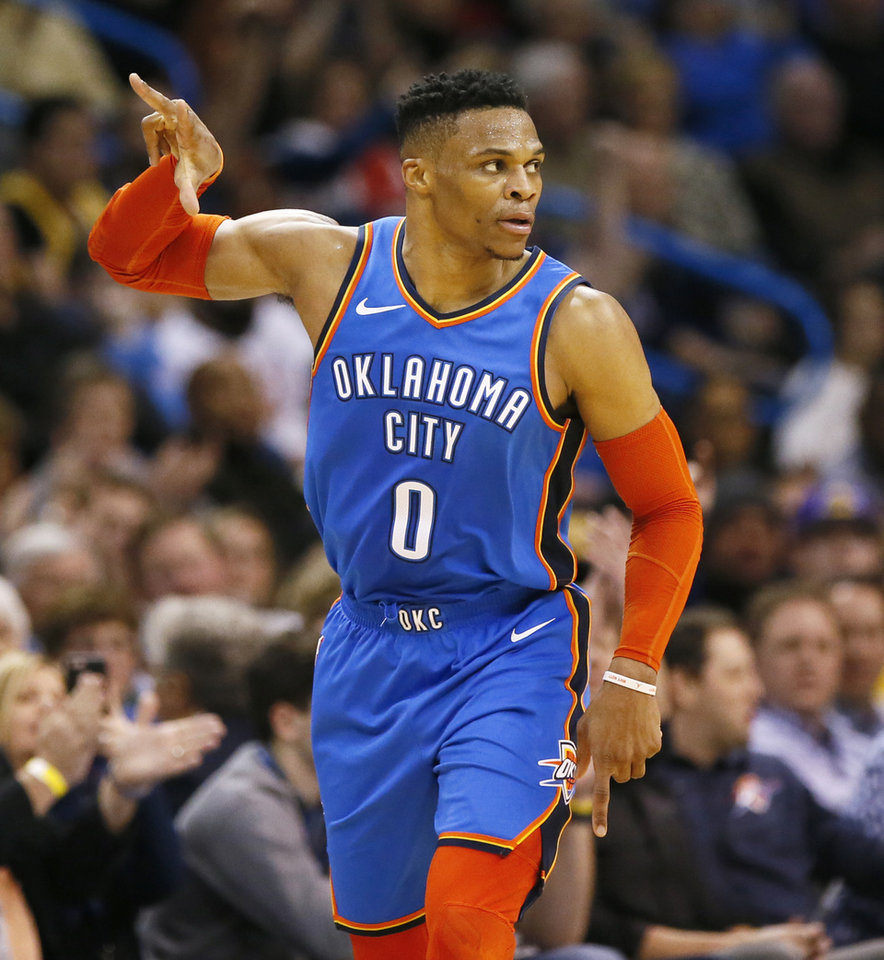 Photo - Oklahoma City's Russell Westbrook (0) reacts after hitting a 3-point shot in the second half during an NBA basketball game between the Los Angeles Lakers and the Oklahoma City Thunder at Chesapeake Energy Arena in Oklahoma City, Thursday, Jan. 17, 2019. Los Angeles won 128-138 in overtime. Photo by Nate Billings, The Oklahoman